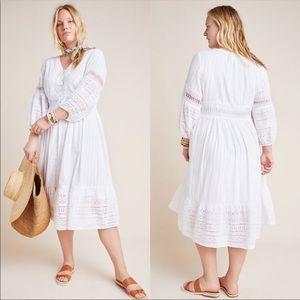 Anthropologie Ebba White Eyelet Midi Boho Dress